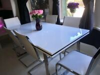 White High Gloss Leather Dining Table And Chairs