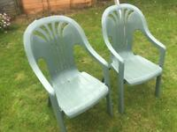 Pair of Green Plastic Garden Chairs
