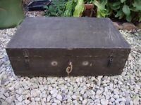 Vintage Timber Box, With Lock And Key,And Two Lock Down Hasps.