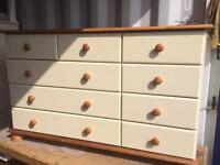 Multi chest of drawers in cream and pine
