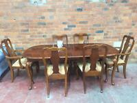 Solid Oak Extending Dining Table + 6 Chairs - UK Delivery