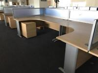 Office furniture , desk with screens pedestal and chairs.