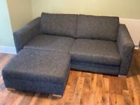 Large Grey Sofology Sofa with Matching Storage Footstool