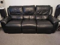 3 & 2 Seater Black Leather Reclining Lounge Suite/Sofa FREE DELIVERY