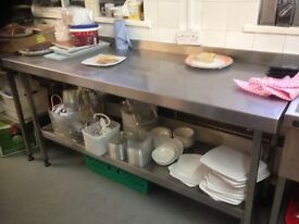 x 1 5FT Stainless steel catering/serving preperation table (6 available)