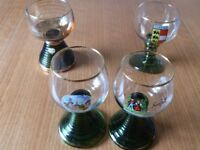 Four Glass Goblets With Green Spiral Bases.NEW Unwanted Gifts -3 German- 1 Austrian