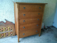Large wood/pine Chest of Drawes - 125cm x 98cm