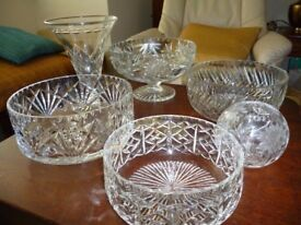 ONLY £20 FOR 6 PIECES OF CUT CRYSTAL GLASS BOWLS - PERFECT CONDITION.