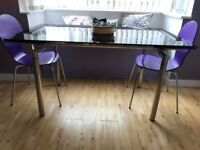 Dwell Extending Black Glass Table - Like New