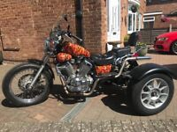Yamaha Virago trike with flame effect hydro dipped tank and sides