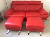 Harveys Genoa 3 seater red leather sofa + 2 footstools *only 3 months old*