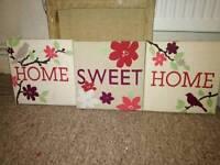 Pretty set of home canvas pics