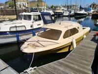 Shetland 536 cabin fishing boat 60hp Johnson 2-stroke 60vro