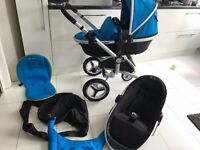 Silver Cross Silvercross Surf Complete Pram and Pushchair Carrycot Black & Sky Blue