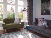 Retro Style Green Scandi Inspired 2 Seater Sofa