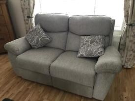 Two 2 seat electric reclining sofas