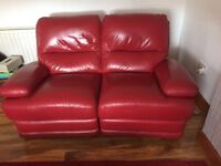 Red leather reclining suite