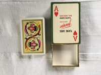 COMPLETE vintage Fournier playing cards - green and gold box.Gold & brightly coloured design.£4 ovno