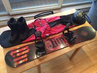 Illuminati Fire 160cm Snowboard, New Bindings fitted, Head Boots, R.E.D. Helmet bundle, job lot