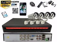 4 full HD Outdoor Cameras 4Ch AHD CCTV System !TB Complete Kit Plug&Play P2Psystem
