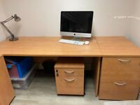 Desk, draw pack to fit under and two drawer filing cabinet