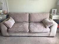 Beige comfy three seater settee sofa