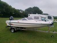 Fletcher 15ft speed boat with 75 hp evinrude etec outboard motor