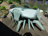 large patio table and four chairs