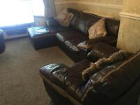 3 piece suite with chaise brown leather couch £150
