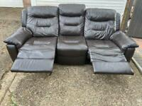 Brown leather electric recliner 3 seater sofa with USB port