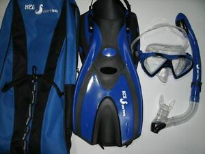 H2O Sporting Snorkeling Set Silicone Mask, Snorkel, Fins &Bag Also Have Water Trampoline Water Ski Tube Towable Inflable