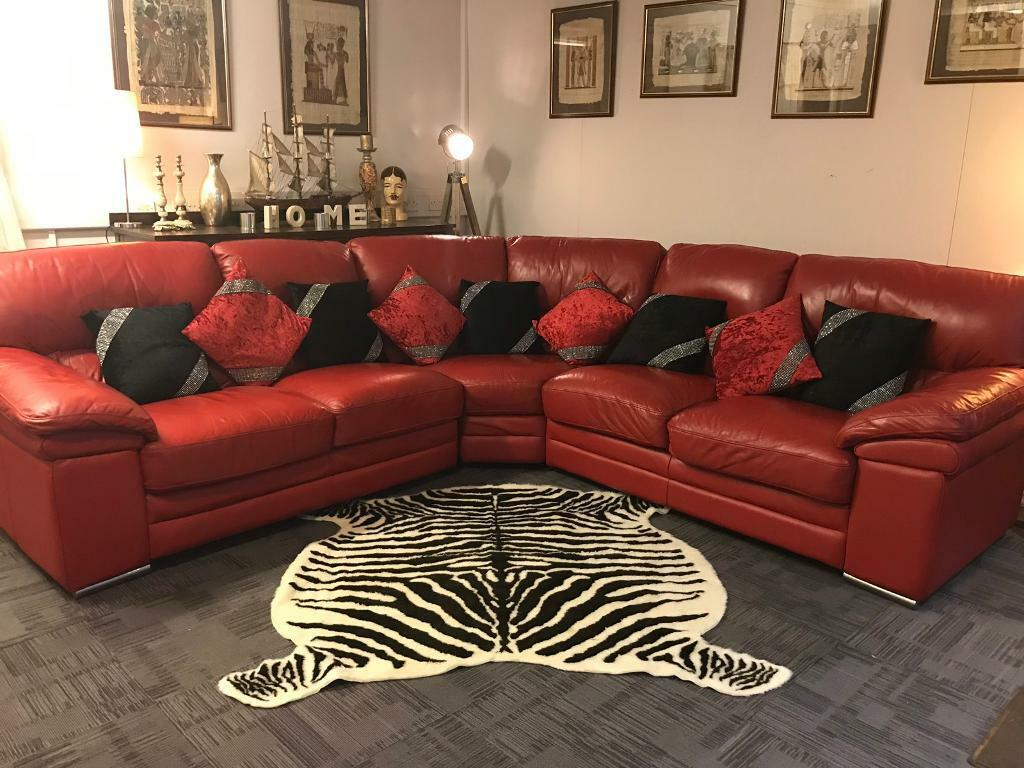 Sold Red Leather Corner Sofa Quality Suites and Sofas | in ...
