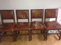 Antique oak chairs x 6