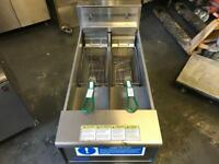 Heavy duty 3 phase electric chips fryer 2 separate tank commercial catering kitchen equipment