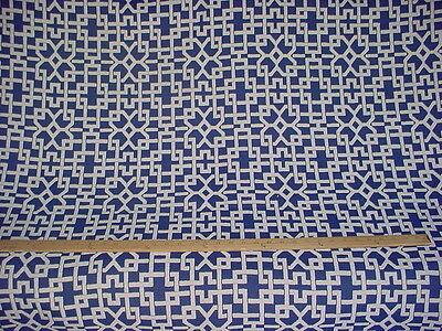 1+y THIBAUT LAPIS NAVY BLUE / WHITE GEOMETRIC LINEN UPHOLSTERY FABRIC