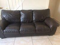 Brown leather sofa and recliner
