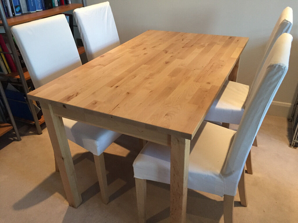 Ikea dining table bj rkudden and four harry chairs birch for Table ikea 4 99