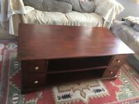 Coffee table, solid wood with drawers storage.