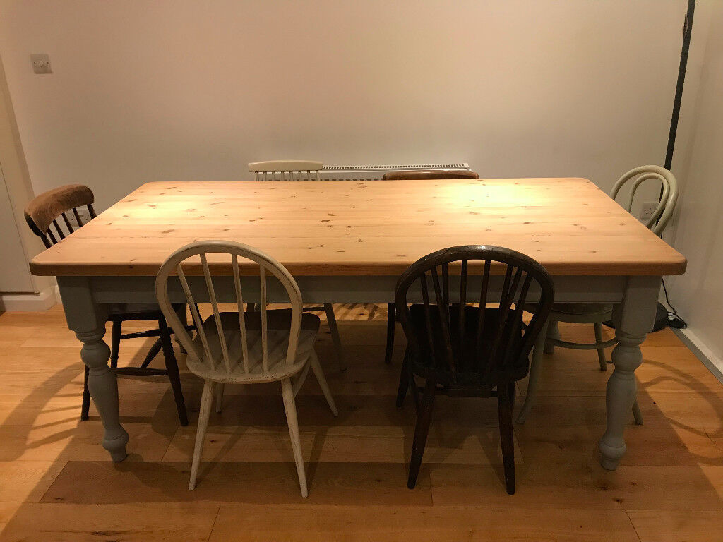Shabby Chic Farmhouse Style Solid Pine Dining Table and ...
