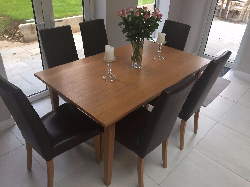 Marks Spencer American Oak Dining Table And 6 Alton Brown Leather Chairs
