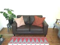2 Seater Brown Leather Sofa (will deliver locally)