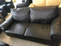 New Designer Brown 100 % Leather 3 Seater Sofa