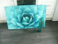 turquoise floral canvas and cracked effect glass vase