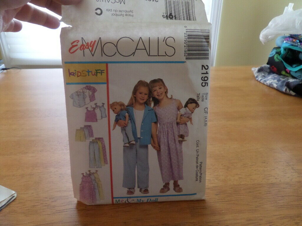 McCall s Pattern 2195 - Me My Doll - Sz 4 - 6 - UNCUT - New Old Stock Vintage - $3.99