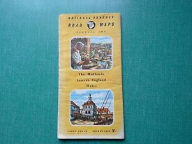 Vintage National Benzole Road Map Section 2