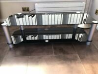 Large Corner Black Glass TV Stand for sale