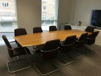 Beech wood boardroom table that seats 10