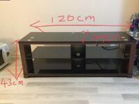 Dark wood glass TV stand 120cm