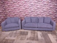 QUALITY EX DISPLAY SOFA WORKSHOP 'DILLON' 3 SEATER SOFA & SNUGGLER CHAIR IN GREY FABRIC SETTEE/SUITE