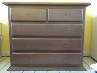 SOLID WOOD pine set: chest of drawers + desk